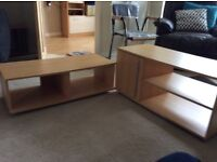 Beech veneer tv table/stand and matching coffee table
