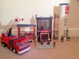Playmobil fire station, fire-engine and truck