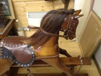 Rocking horse mahogany leather brass mounted superb
