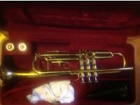 Brass trumpet for sale with case and 2 mouthpiece