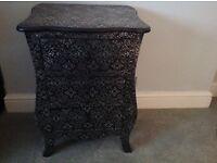 Blackened Silver Ebossed Metal Three Drawer Bedside Cabinet