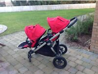 Baby Jogger City Select Double/Twin Pushchair, Ruby Red, plus Carry Cots/Bassinets & many extras