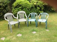 4 plastic green garden chairs