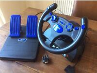 Shockforce 2 steering wheel and pedals for PS2