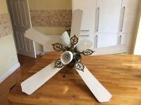 Ceiling light with fan.