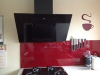 Designer Black glass cooker hood/extractor with remote