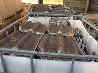 Clay Double Roman Roof Tiles from one roof, knibs in good condition, about 1000 available.