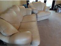 Cream leather suite 3+1+1