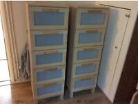2 drawer units and a tall cupboard