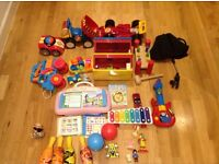 toys for 35, playmat , bath support and bouncer