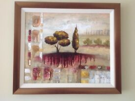Two professionally framed acrylic paintings by E. Healy