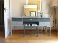 Stag dressing table stool and mirror