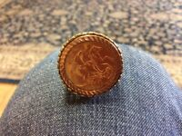 22ct gold Sovereign coin in 9ct gold shank ring
