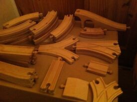 Wooden trains, track and accessories