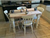 Solid Pitch Pine Dining Table with Four Chairs