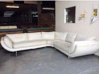 Cream leather large corner sofa