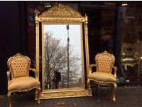 Very large French style gold mirrors