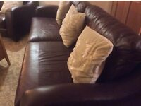 Brown leather five seater sofa. Excellent condition.