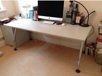 Office Table - Modern Grey with Chrome Legs
