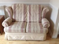 3 Seater sofa, 2 seater sofa, footstool that opens for storage, and curtains