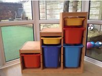 Storage units with removable box inserts, ideal for toys/playroom