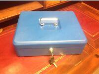 Secure Cash Box Large Metal Blue