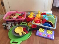 Play Food/Kitchen/Cutlery/Shopping Basket/Sink drainer