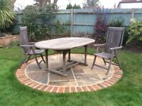 Garden teak table and chairs 6-seater