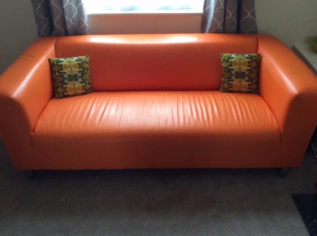 Leather Orange Sofa Divani Casa 6138 Modern Orange And