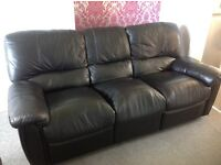 Black Leather effect Reclining 3 & 2 seater sofa set. PICK UP ONLY.