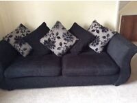 Sofa, large swivel cosy chair and foot stall
