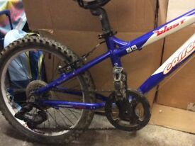 Child's carrera blast mountain bike 20inch blue