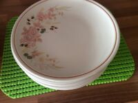Dinner plates with matching side plates and casserole dish