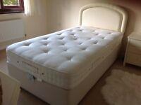 "Large Vi -Spring single divan bed 3'6"" x 6'6 with cream headboar"
