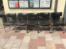 Mid century Teak n Chrome Chairs x 5