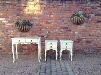Shabby chic dressing table & bedside tables