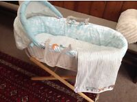 White wicker joules Moses basket
