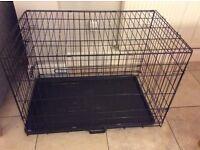 Black foldable dog crate large