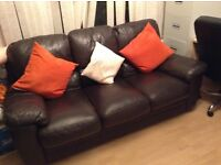 Expensive Italian leather deep cushioned chocolate sofa - MUST GO TODAY