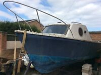 16' cabin cruiser, trailer & 2 outboard motors for sale