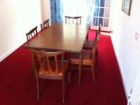 DINING TABLE, CHAIRS & SIDE BOARD