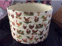 Designer lampshade with fabulous chicken design. For table lamp only.