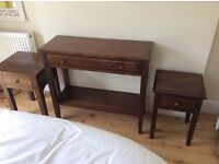 Side tables or lamp tables in dark chestnut wood