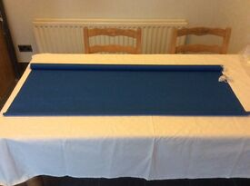 Unused roller blind - colour blue, with brackets.