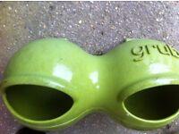 Omlet Glug Glug Feeder. Green plastic.