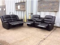 Black Leather Recliner Sofa Set 3 & 2 Seat - Ex Display - £499 Including Free Local Delivery