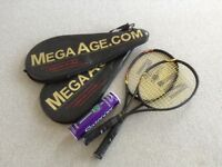 Tennis racquets and new balls