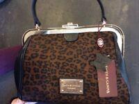 Smith & Canova leather handbag with leopard print detail -NEW
