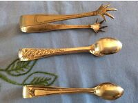 A Set of 3 Silver Plated Vintage Sugar Tongs.