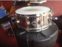 DW collectors snare drum and hard carry case.